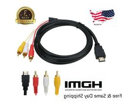 1080P HDMI Male to 3 RCA S-video AV Audio Cable Cord Adapter