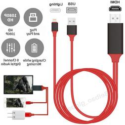 1080P Lightning To HDMI Cable Phone To TV HDTV AV Adapter Fo