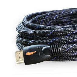 LONG 25FT HDMI Cable 1080P 4K Ethernet - 26AWG Braided HDMI