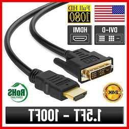 DVI-D to HDMI Cable Adapter Monitor Display Cable PC Laptop