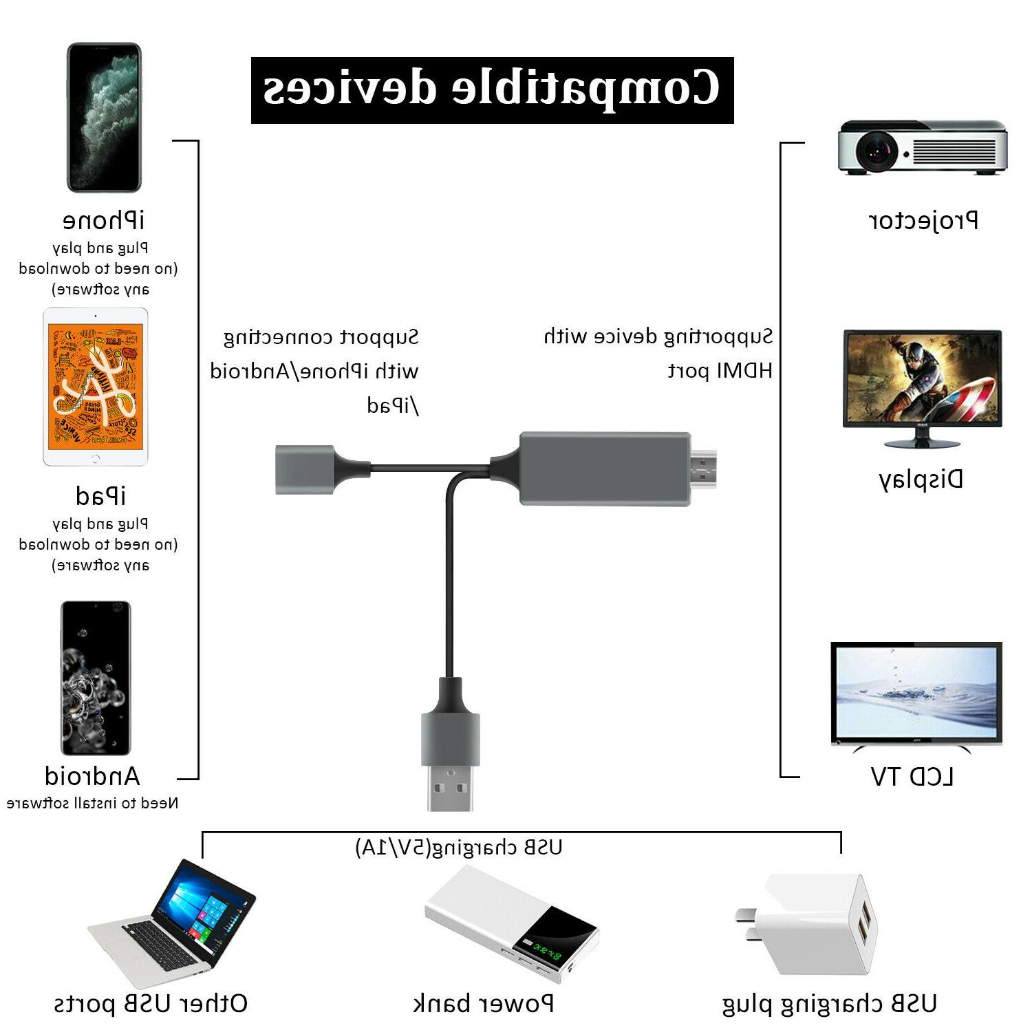 1080P Phone to TV For iPhone/Samsung/iPad/Android