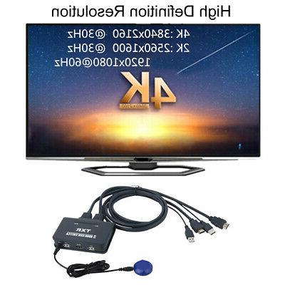 2 USB Box HDMI Switch Accessories With Cables Computer