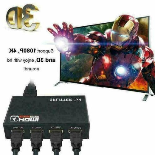 4K HDMI Repeater Splitter Amplifier HUB In