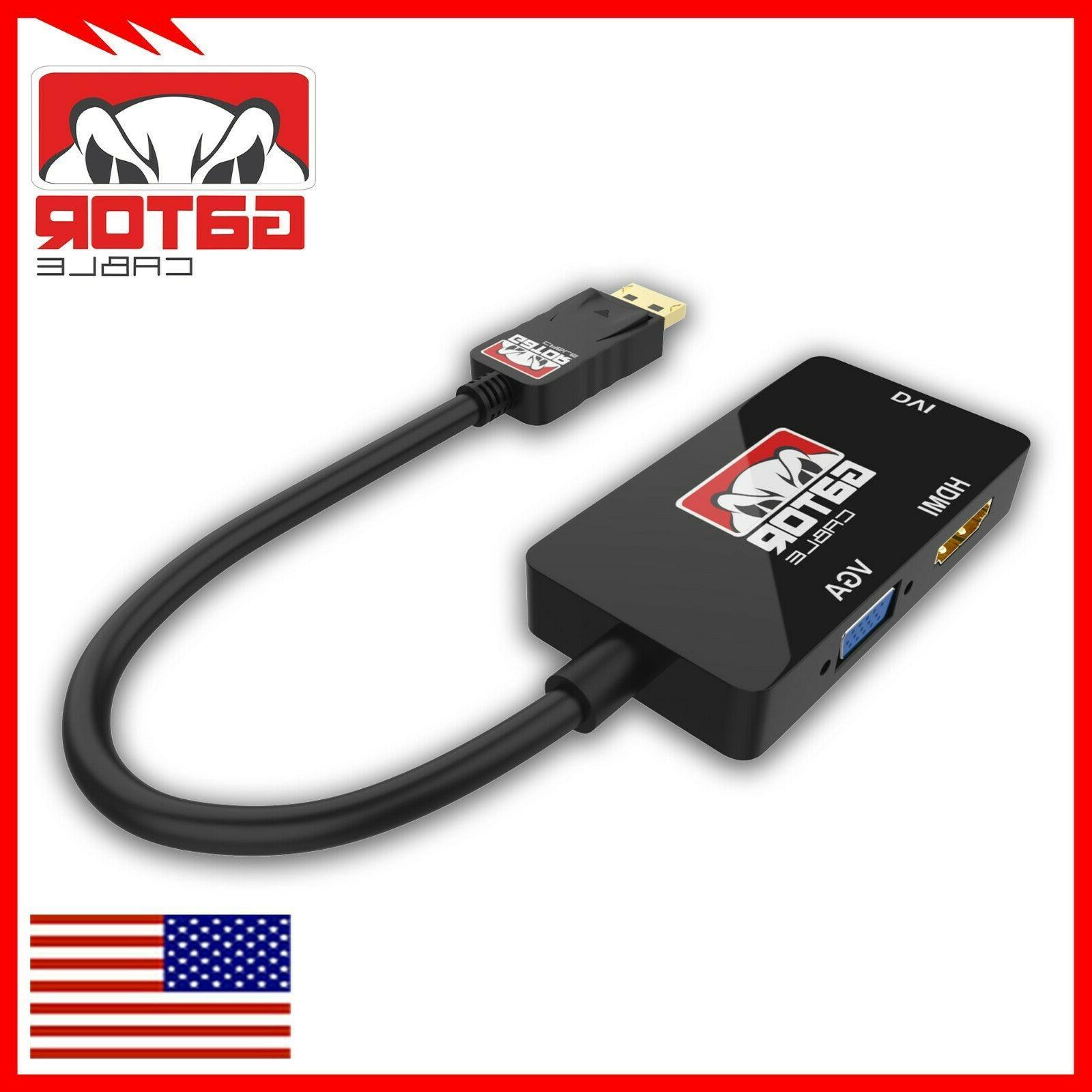 DisplayPort HDMI Female Adapter Converter 3in1
