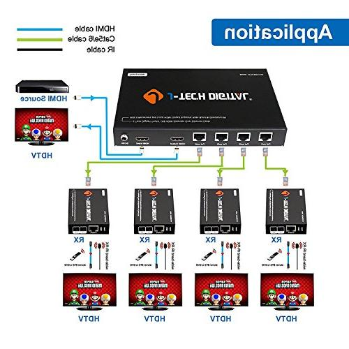 J-Tech Digital Extender Combo Over Cat5e/Cat6 cable up to 164 feet with Local and IR control