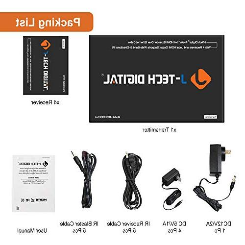 J-Tech 1x4 HDMI Extender Splitter Cat5e/Cat6 up 164 feet with and