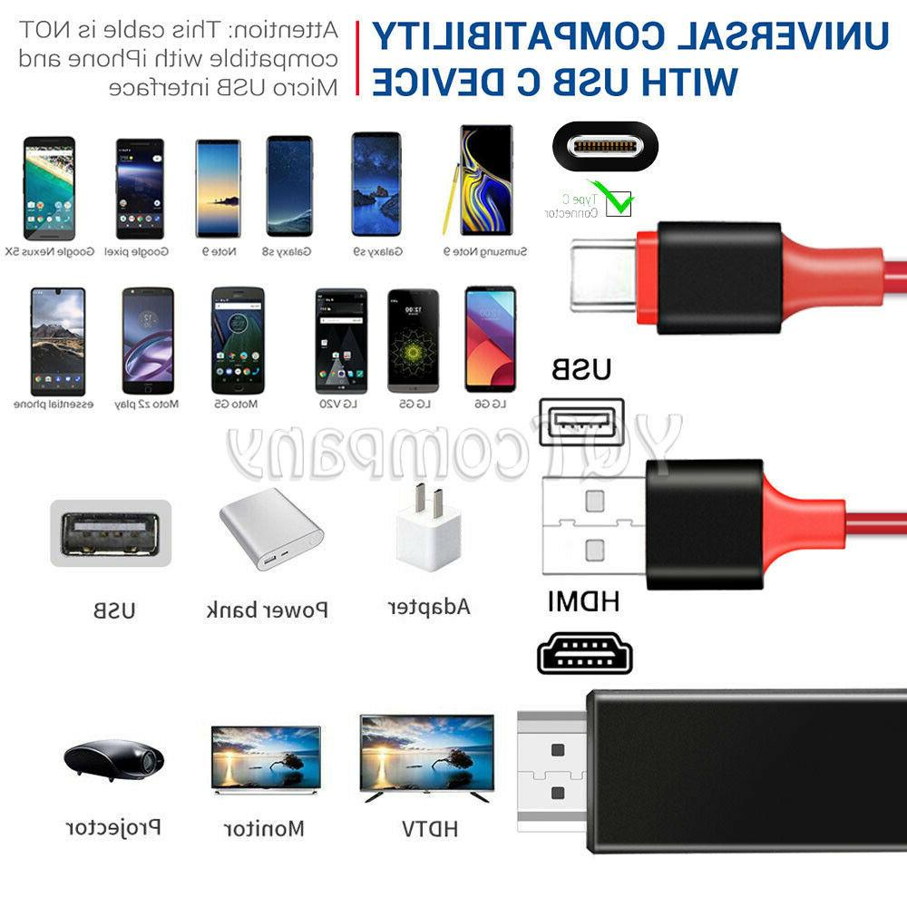 USB-C Type-C to HDTV Adapter Cable Samsung S8 S10 S20 Note20 MacBook