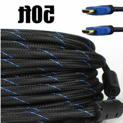 Premium 50ft HDMI Cable for Bluray 3d DVD PS4 HDTV Xbox LCD