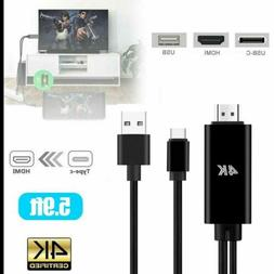 USB C to Type-C to HDMI Cable 4K Phone Laptop To TV HDTV Ada